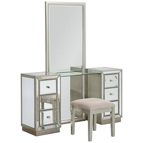 Isa Champagne Console and Stool Set with Mirror