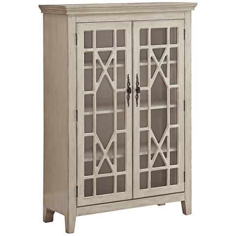 Butterfly Millstone Texture Ivory 2-Door Display Cabinet