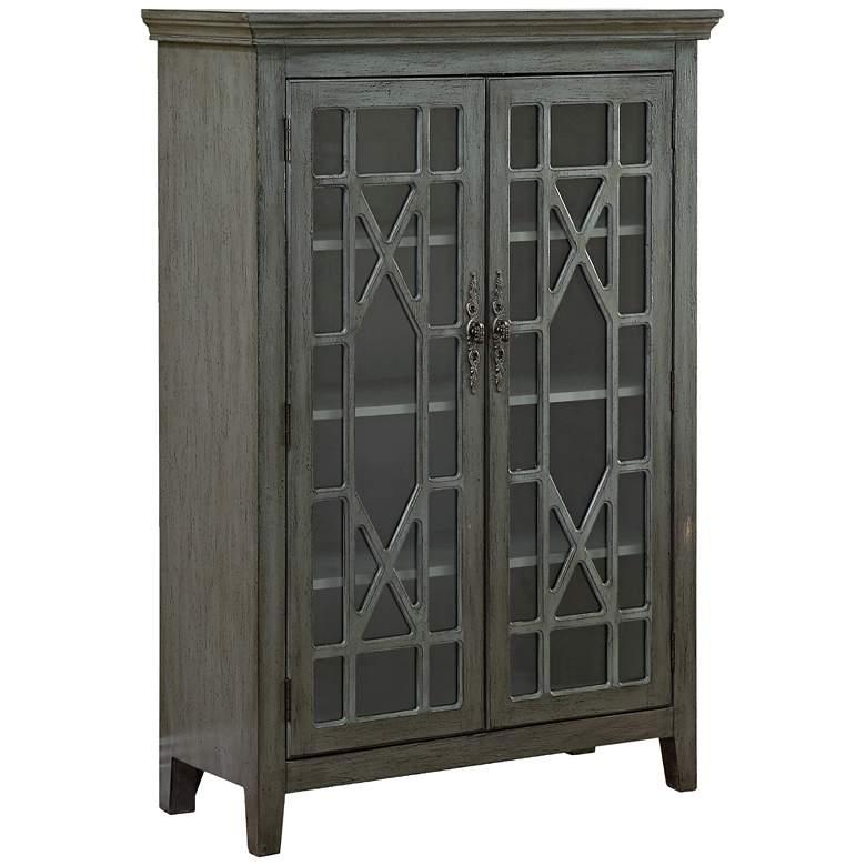 """Butterfly 36"""" Wide Textured Gray 2-Door Display Cabinet"""