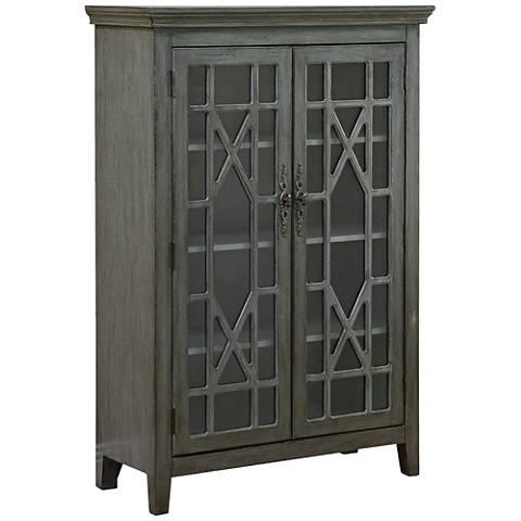 Butterfly Joplin Textured Gray 2-Door Display Cabinet