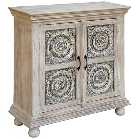 Schyler Colony White Wash 2-Door Accent Cabinet