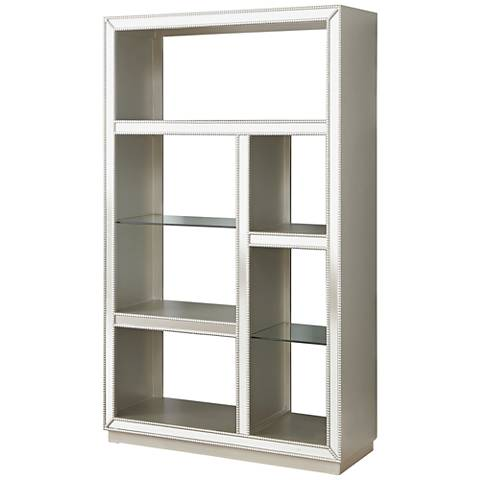 Zoey Elsinore Champagne 5-Shelf Mirrored Bookcase
