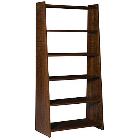 Tilt Rustic Medium Walnut 6-Shelf Bookcase