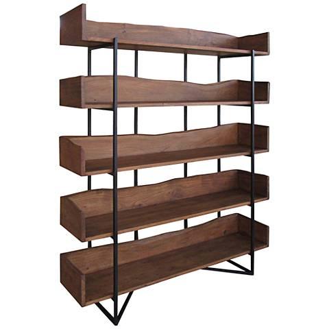 Allessia Light Brown Matte 5-Shelf Bookcase