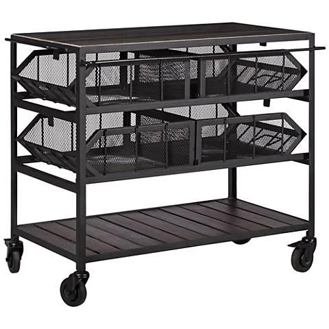 Rikkel Gray and Black 4-Basket Serving Cart
