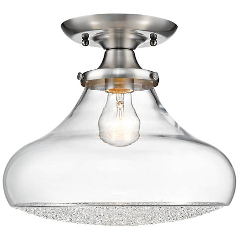 """Asha 12"""" Wide Pewter and Clear Crystal Glass Ceiling Light"""