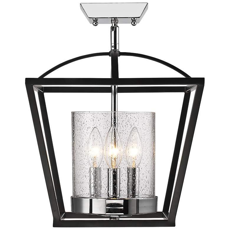 """Mercer 11 3/4"""" Wide Black and Chrome 3-Light Ceiling Light"""