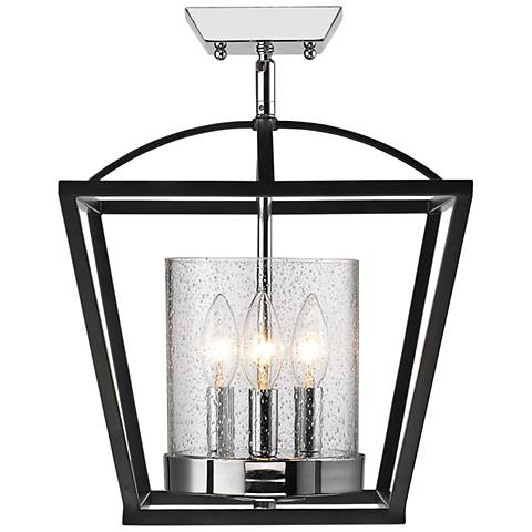 "Mercer 11 3/4"" Wide Black and Chrome 3-Light Ceiling Light"