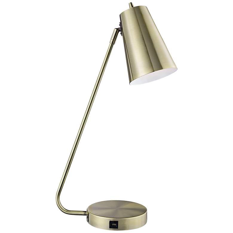 Lite Source McCoy Antique Brass Desk Lamp with USB Port