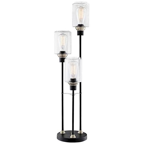 Lite Source Luken Black Metal 3-Light Uplight Table Lamp