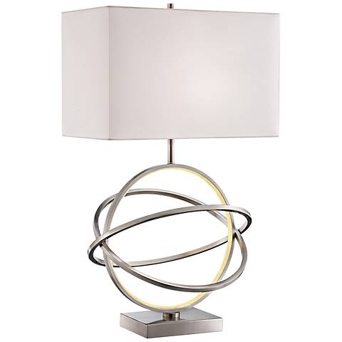 Orville Brushed Nickel Table Lamp with LED Night Light