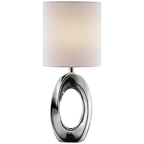 Lite Source Clover Chrome Ceramic Accent Table Lamp