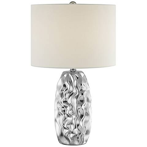 Lite Source Bloom Chrome Ceramic Table Lamp