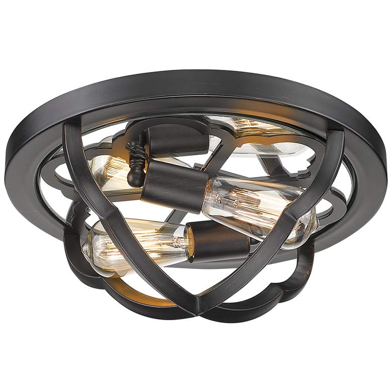 "Saxon 14"" Wide Aged Bronze 2-Light Ceiling Light"