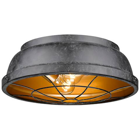 "Bartlett 14"" Wide Black Patina Ceiling Light"