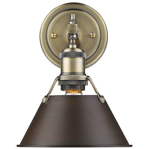 "Orwell 10""H Aged Brass Wall Sconce with Rubbed Bronze Shade"