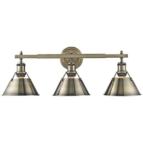 """Orwell 24 1/4"""" Wide Aged Brass 3-Light Bath Light"""