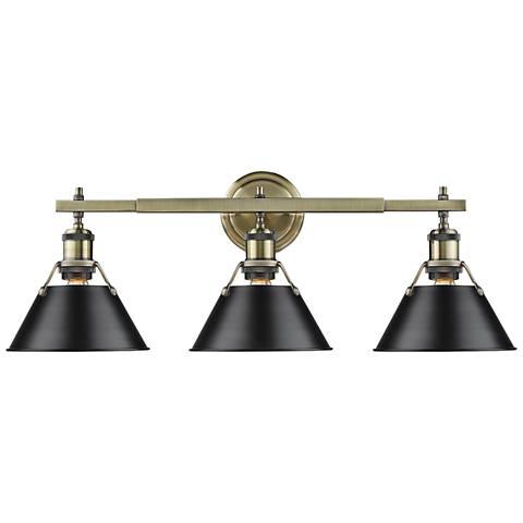 "Orwell 24 1/4""W Aged Brass 3-Light Bath Light w/ Black Shade"