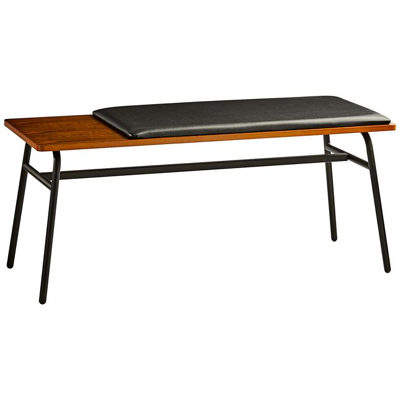 "Carter 39"" Wide Walnut Wood and Metal Modern Bench"