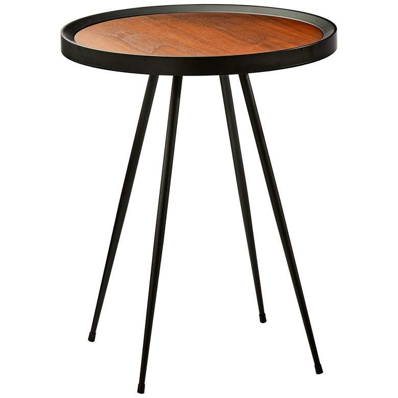 "Baldwin 22"" High Walnut and Matte Black Modern End Table"