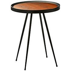 Baldwin Walnut Wood and Matte Black End Table