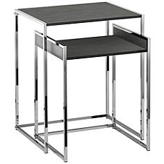 Ryder Gray and Chrome Plated 2-Piece Nesting Table Set