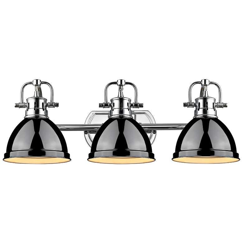 """Duncan 24 1/2""""W Chrome 3-Light Bath Light with Black Shades"""