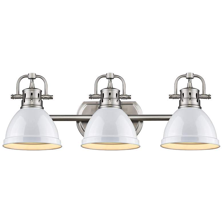 """Duncan 24 1/2""""W Pewter 3-Light Bath Light with White Shades"""