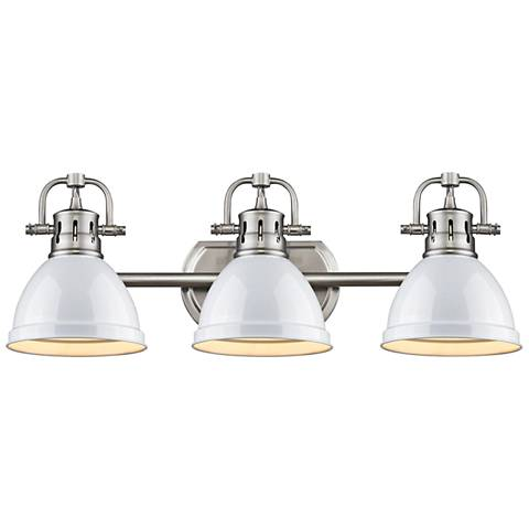 "Duncan 24 1/2""W Pewter 3-Light Bath Light with White Shades"