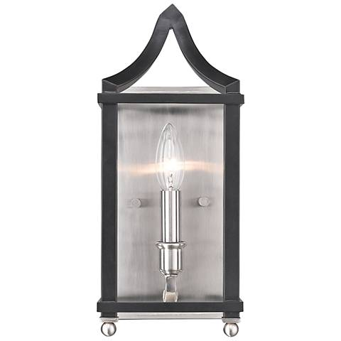 "Leighton 13 3/4"" High Pewter and Black Wall Sconce"