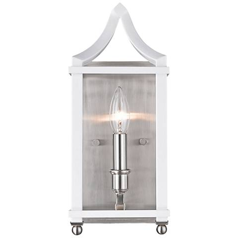 "Leighton 13 3/4"" High Pewter and White Wall Sconce"