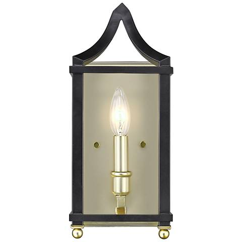 "Leighton 13 3/4"" High Satin Brass and Black Wall Sconce"
