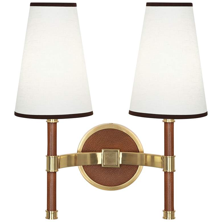 Voltaire Modern Brass And Saddle Leather Double Wall Lamp