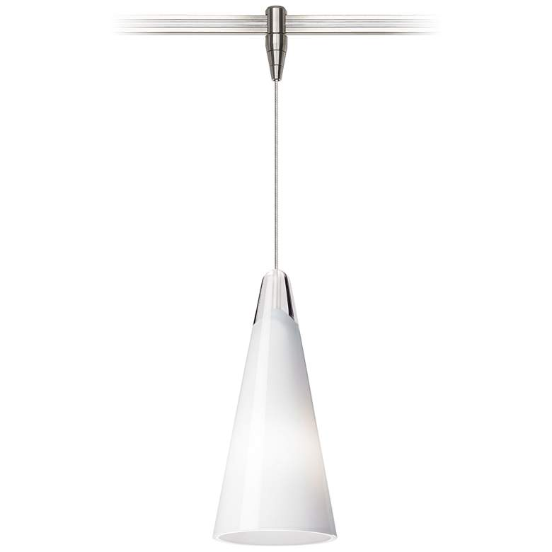 "Selina 4 1/4""W White and Nickel LED Monorail Mini Pendant"