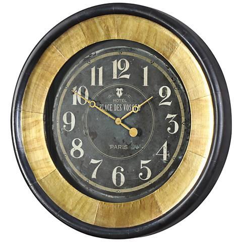 """Lannaster Antiqued Gold and Dark Bronze 33"""" Round Wall Clock"""