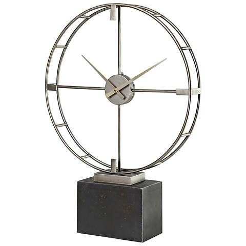 """Uttermost Janya Antiqued Silver Champagne 27""""H Table Clock"""