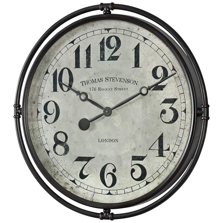 """Nakul 30"""" Round Rustic Industrial Wall Clock by Uttermost"""