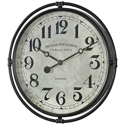 """Uttermost Nakul Smoke Gray 30"""" Round Wall Clock"""