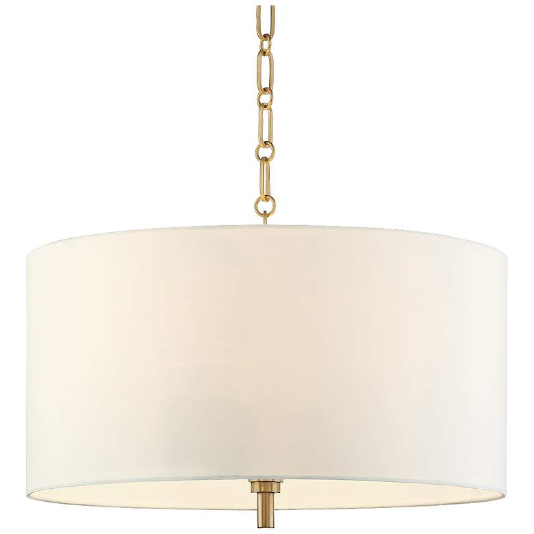 """20"""" Wide Warm Gold Pendant Light with White Shade"""