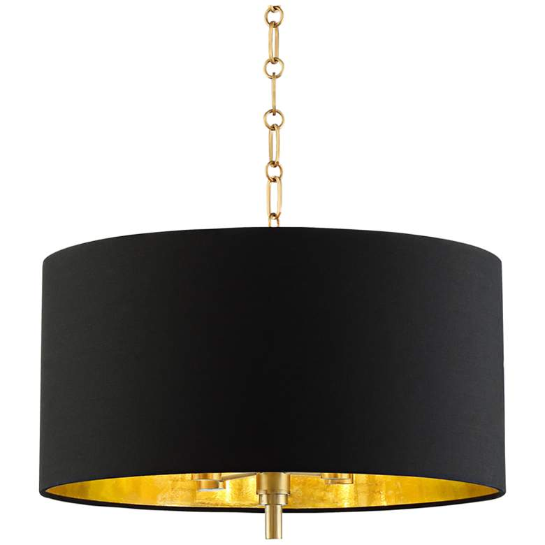 """20"""" Wide Warm Gold Pendant Light With Black Shade"""
