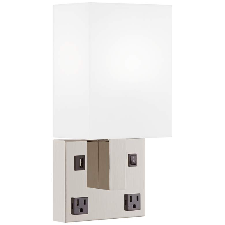 42E87 - Direct Wire Wall Lamp with 1 USB and 2 Outlets