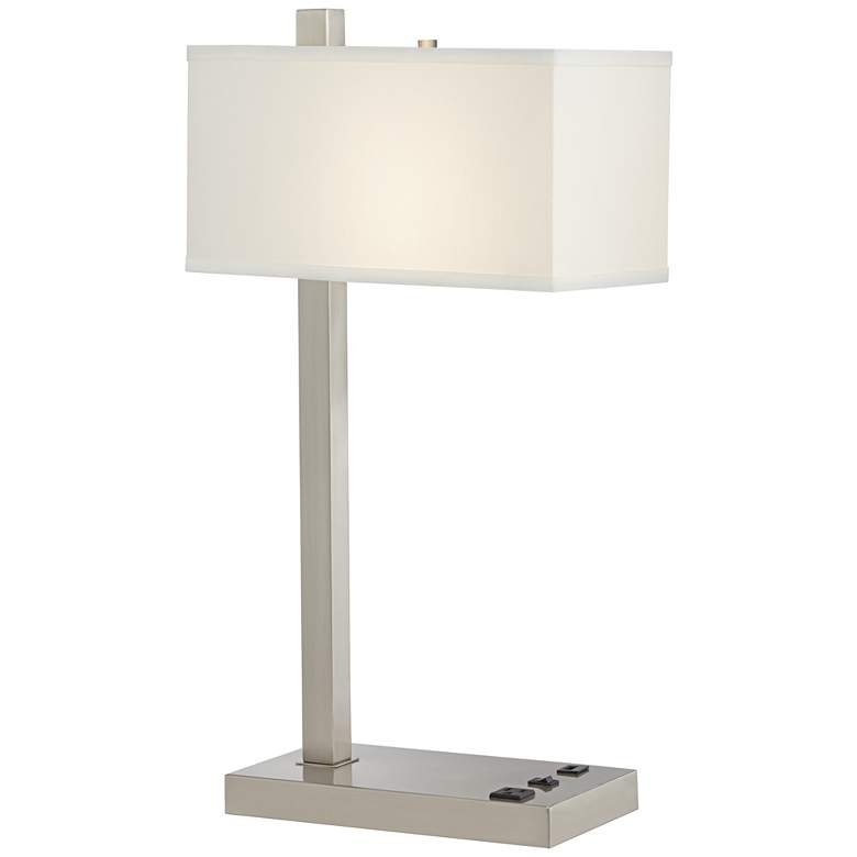"""42E99 - 25""""Brushed Nickel Table Lamp with 2 Outlet and 1 USB"""