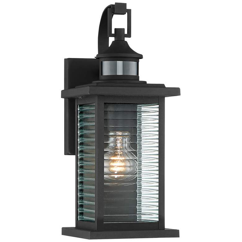 "Cameron 13 3/4"" High Black Motion Sensor Outdoor Wall Light"