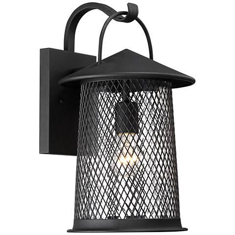 "Serrington 15 1/2"" High Black Mesh Outdoor Wall Light"
