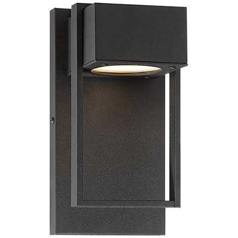 """Pavel 9 1/2"""" High Textured Black LED Outdoor Wall Light"""