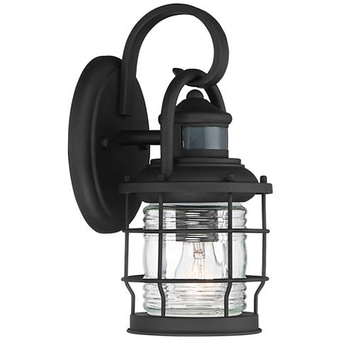 "Maryland 12""H Black Caged Motion Sensor Outdoor Wall Light"
