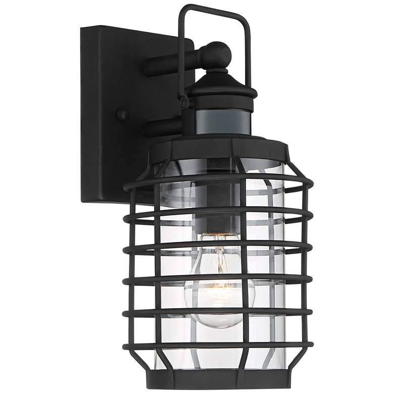 """Anapos 12 1/2""""H Black Caged Motion Sensor Outdoor Wall Light"""