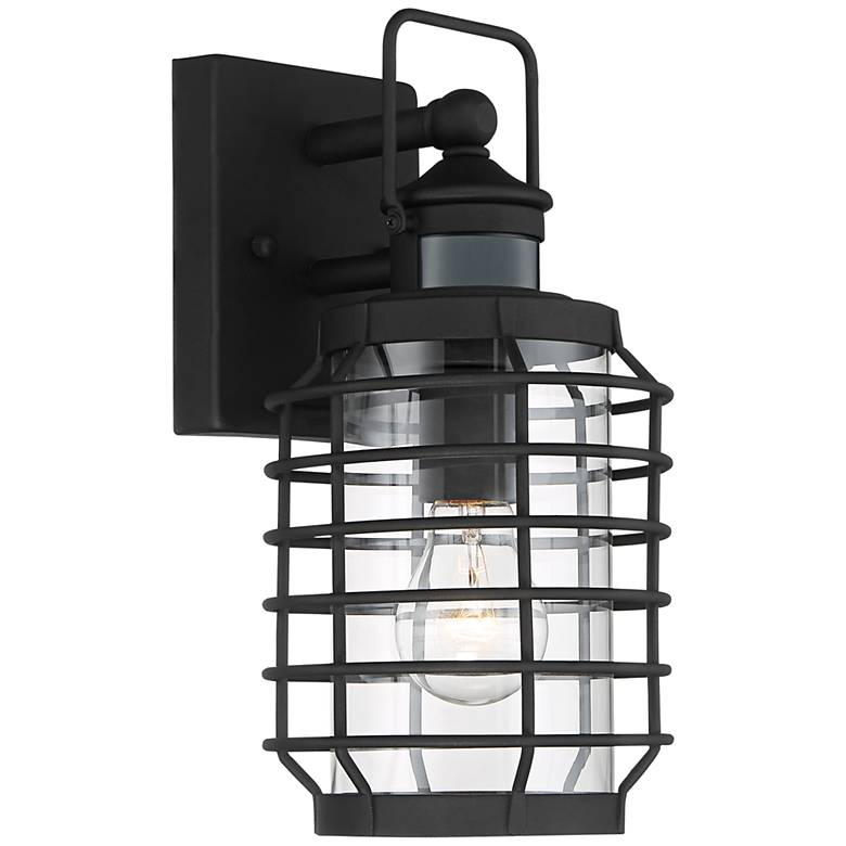 "Anapos 12 1/2""H Black Caged Motion Sensor Outdoor Wall Light"