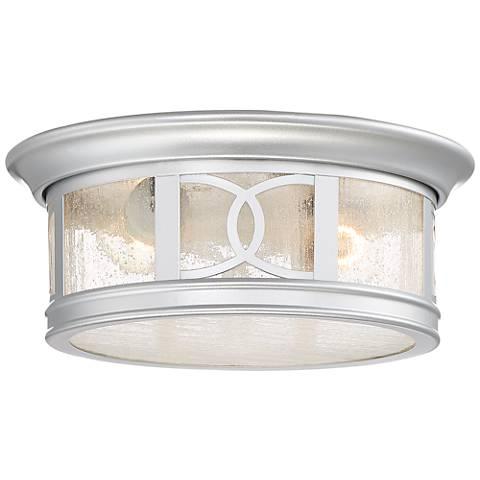 "Capistrano 12"" Wide Silver 2-Light Outdoor Ceiling Light"