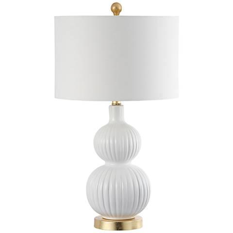 Arreba White Ribbed Gourd Ceramic Table Lamp